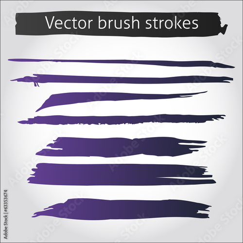 Set of vector straight ink pen strokes