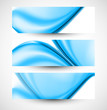 Abstract stylish blue wave three  header set whit vector backgro