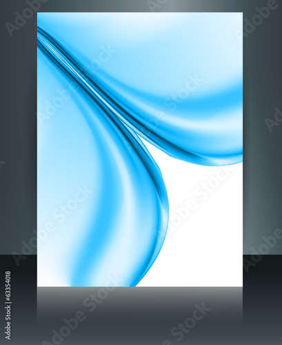 Beautiful brochure business technology stylish blue wave templat
