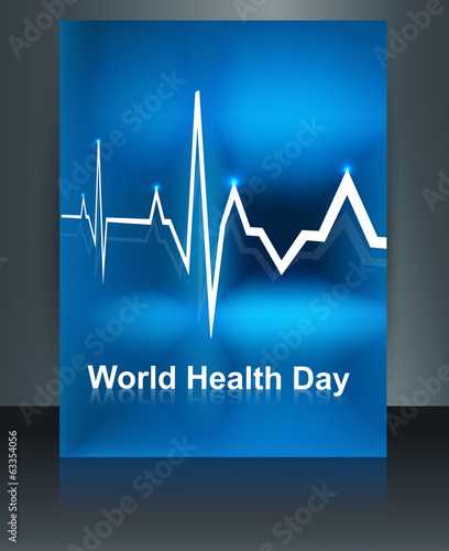 Vector llustration of heart beats on world health day brochure t