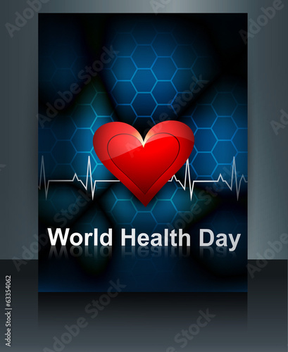 Vector llustration World health day brochure template of heart b