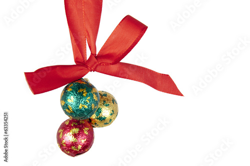 Christmas balls hanging on celebratory ribbon