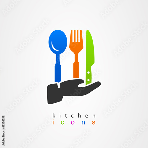 Kitchenware icon fork knife spoon menu waiter