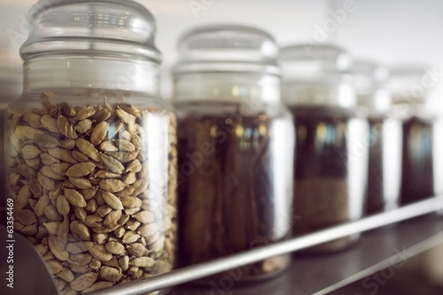 Assorted spices in bottles