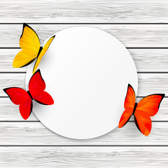 Paper card with color butterflies