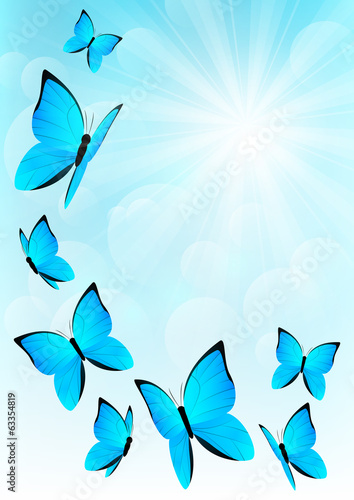 Blue butterflies on sunny sky background