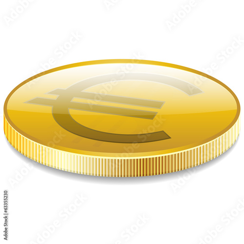 Euro money coin in perspective vector
