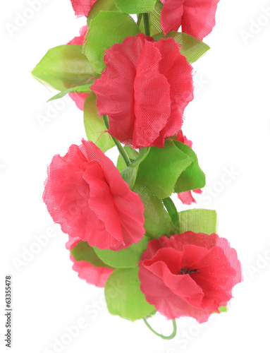 Hanging pink artificial flowers.