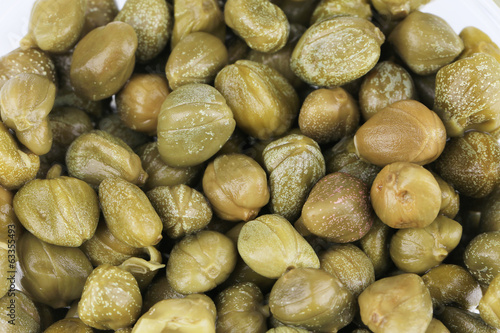 Green and appetizing capers.