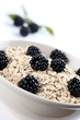 Oatmeal with fresh organic blackberries. Shallow DOF