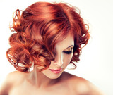 Beautiful model red with curly hair
