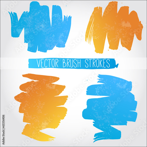 Set of blue and orange vector brush strokes