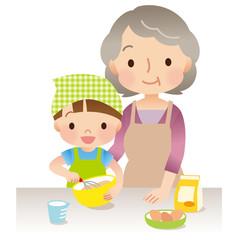 料理をするおばあちゃんと子供
