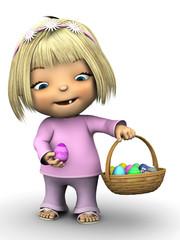 Cute toddler girl holding Easter egg.