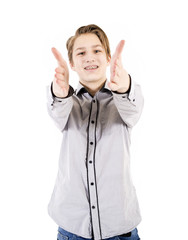 Teenager shows hands signs