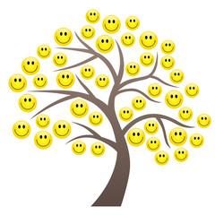 Baum mit Smileys als Blättern – Vektor/freigestellt