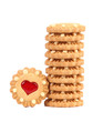 Stack of heart shaped strawberry biscuit