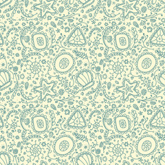 Seamless pattern or background with abstract protozoa
