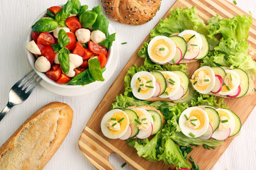 Bread with egg and caprese salad