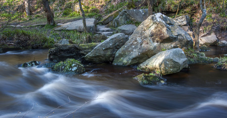 Boulders in woodland stream