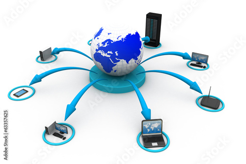 Computer Network and internet communication concept.