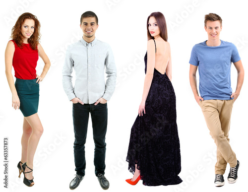 Collage of fashion models isolated on white
