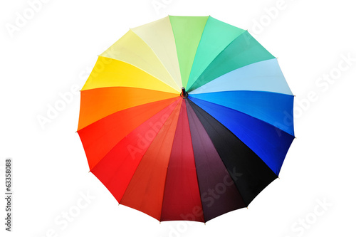 Opened multicolored umbrella isolated on a white background