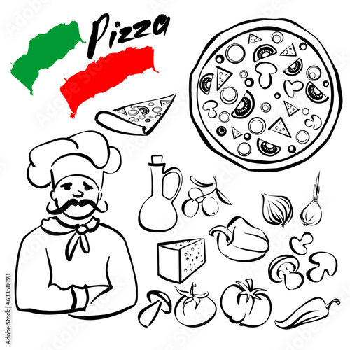 pizza collection sketch cartoon vector illustration