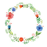 Fototapety watercolor  floral frame
