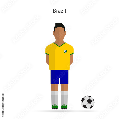 National football player. Brazil soccer team uniform.