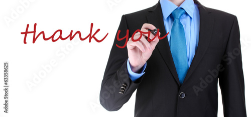 Hand writing Thank you on transparent board