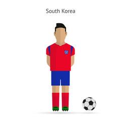 National football player. South Korea soccer team uniform.