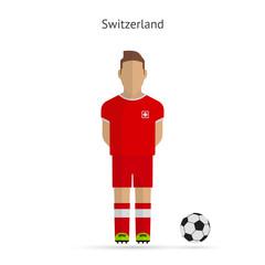 National football player. Switzerland soccer team uniform.