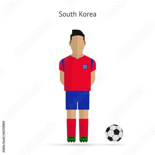 National football player. South Korea soccer team uniform.