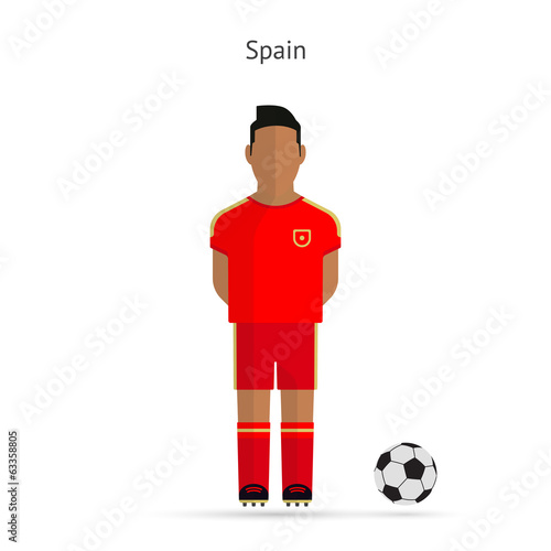 National football player. Spain soccer team uniform.