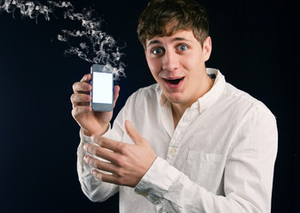 Man with smoking Cell Phone
