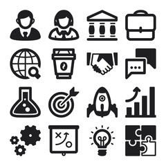 Business flat icons. Black