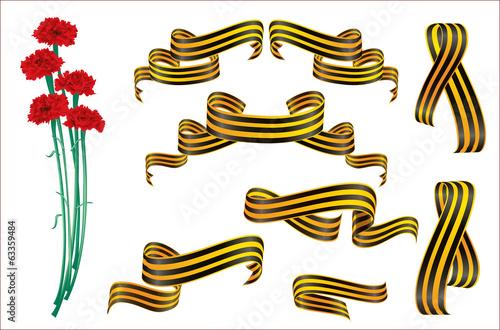 Красные гвоздики и Георгиевские ленты