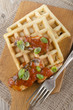 sardines with tomato sauce and waffle