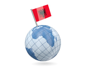 Globe with flag of albania