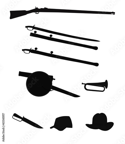 civil war objects in silhouette