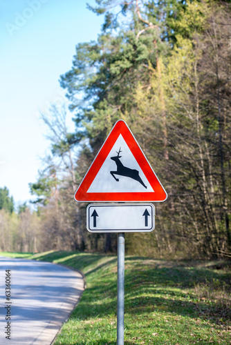 Traffic warning sign for deer and buck