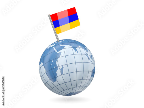 Globe with flag of armenia