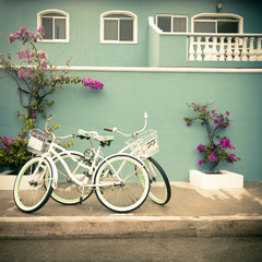 Two Bikes and a Colorful House