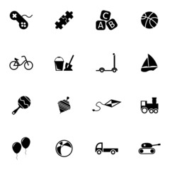 Vector black  toys  icons set
