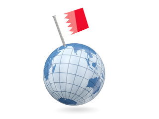 Globe with flag of bahrain
