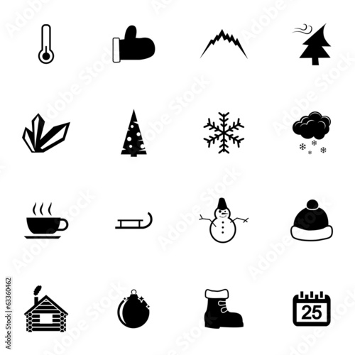 Vector black  winter  icons set