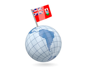 Globe with flag of bermuda