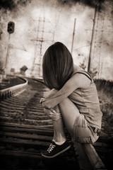 Artwork in grunge style, rails, sad girl