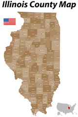 Illinois County Karte